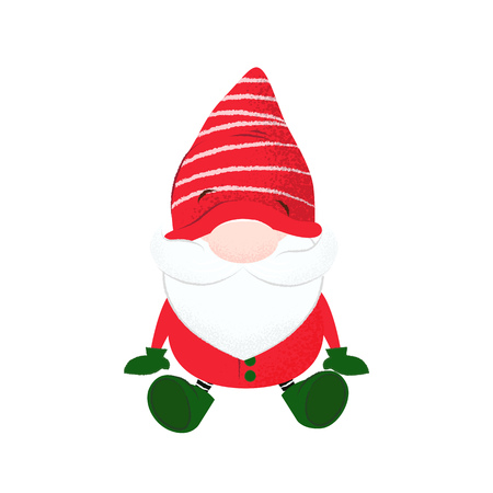 Bearded dwarf with stripped hat on eyes. Blind, sightless, confusion. Can be used for topics like cartoon, character, fairy tale