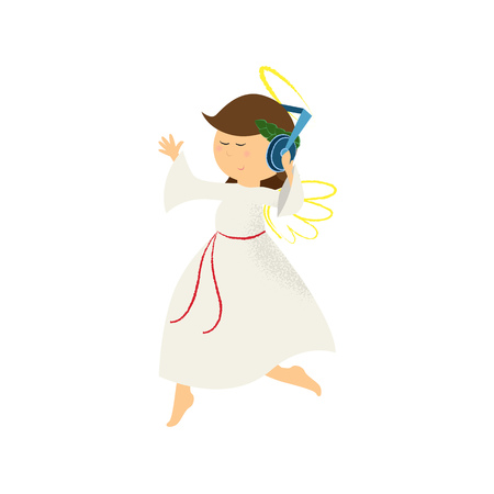 Modern angel girl listening to music in headphones. Hobby, leisure, cartoon. Can be used for topics like relaxation, fun, character