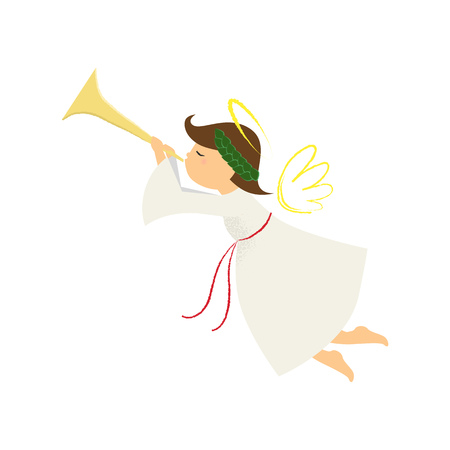 Netter Engel mit Lorbeerkranz, der Horn bläst. Signal, Ruf, Hupe aufziehen. Kann für Themen wie Cartoon, Charakter, Weihnachten verwendet werden Vektorgrafik
