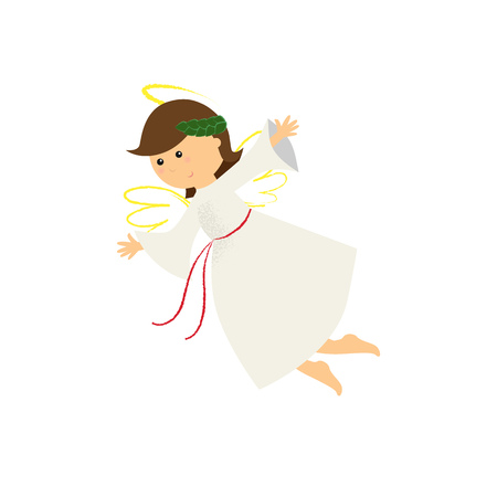 Happy angel girl with wings flying. Holy, character, dress. Can be used for topics like agent of God, guardian angel, fairy tale