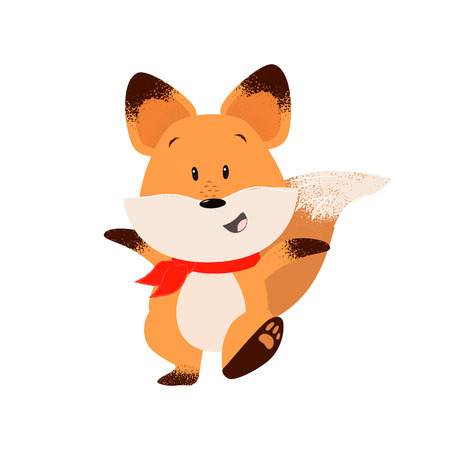 Happy fox outstretching hands while walking. Excitement, leisure, happiness. 