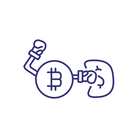 Bitcoin boxing line icon. Bitcoin fights dollar banknote on white background. Cryptocurrency concept. Vector illustration can be used for topics like money, finance, economy, investment