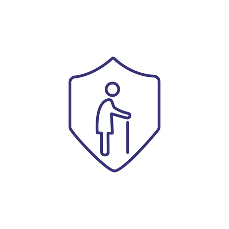 Pension insurance line icon. Old man inside shield on white background. Insurance concept. Vector illustration can be used for topics like lifestyle, pension, insurance, social benefits