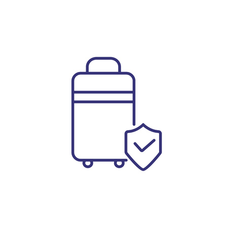 Protection of baggage line icon. Suitcase with shield on white background. Airport safety concept. Vector illustration can be used for topics like airport, information desk, service Illusztráció