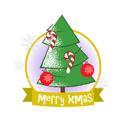 Christmas poster design with fir tree and decoration. Drawing of green fir tree with decorations in golden round frame on white background. Can be used for postcards, greeting cards, leaflets Ilustração