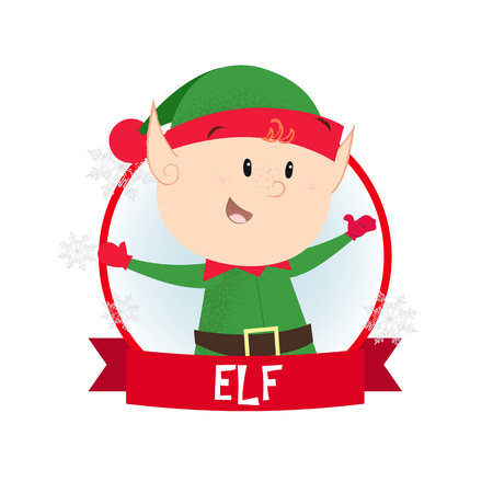 Christmas poster design with elf. Illustration of elf in green costume in round red frame on white background. Can be used for postcards, greeting cards, leaflets