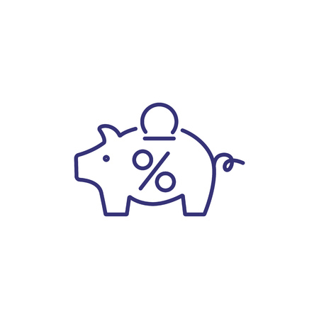 Coin box line icon. Piggy bank with coin and percent mark on white background. Money saving concept. Vector illustration can be used for topics like money saving, economy, finance