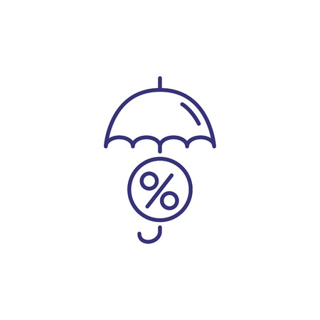 Credit insurance line icon. Round percent tag under umbrella on white background. Finance concept. Vector illustration can be used for topics like banking, finance, investment