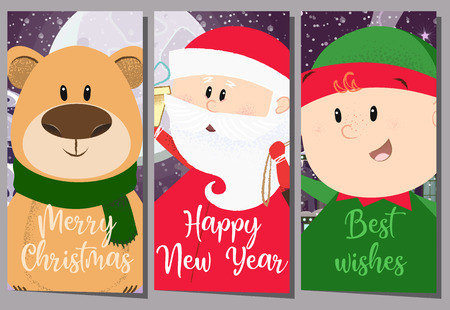 Creative greeting card with cartoon trio. Illustration of three cartoon characters of Santa, bear and elf. Can be used for postcards, greeting cards, leaflets Illustration