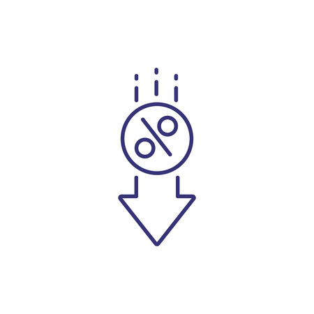 Interest reduction line icon. Arrow with round percent mark on white background. Economy concept. Vector illustration can be used for topics like advertisement, marketing, finance 일러스트