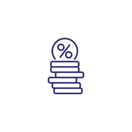 Loan line icon. Coins with round percent mark on white background. Finance concept. Vector illustration can be used for topics like economy, banking, investment 向量圖像