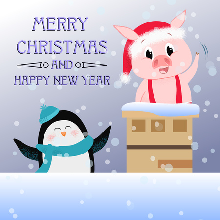 Merry Christmas and Happy New Year bright greeting poster design. Inscription with cartoon penguin and piglet inside chimney on background with snow. Can be used for postcard, greeting card, leaflet