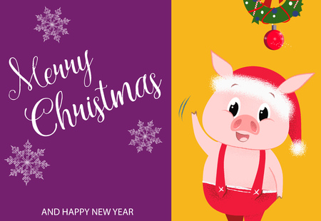 Creative poster design with piglet. Merry Christmas and Happy New Year inscription with piglet in jump suit and Christmas wreath on yellow and purple background. Can be used for postcards, invitations Illustration