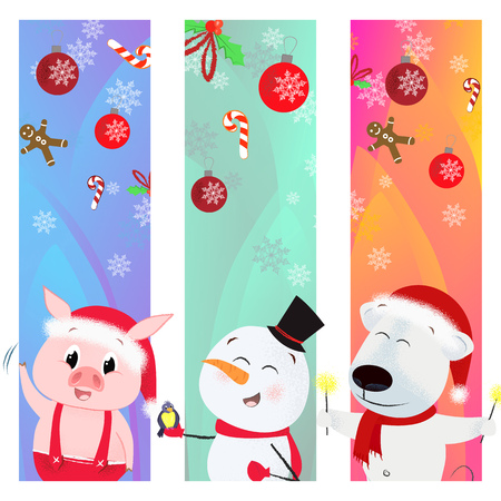Merry Xmas greeting poster with cartoon trio. Illustration of snowman, polar bear and piglet. Can be used for postcards, greeting cards, leaflets Illustration