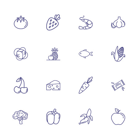 Grocery products line icon set. Set of line icons on white background. Food concept. Apple, cheese, fish, fruits. Vector illustration can be used for topics like grocery, green market, healthy eating Illustration