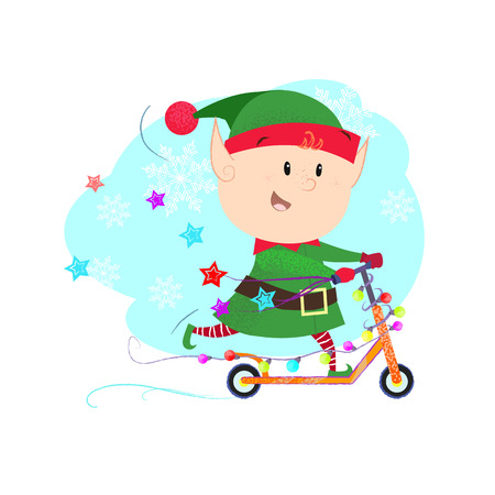 Cheerful elf riding on scooter. Character, fairy, fun. Can be used for topics like transportation, holiday, entertainment