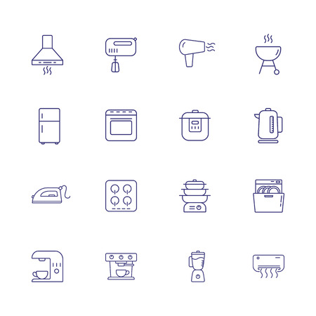 Household equipment line icon set. Set of line icons on white background. Household concept. Iron, microwave, oven, mixer. Vector illustration can be used for topics like home, kitchen, technics