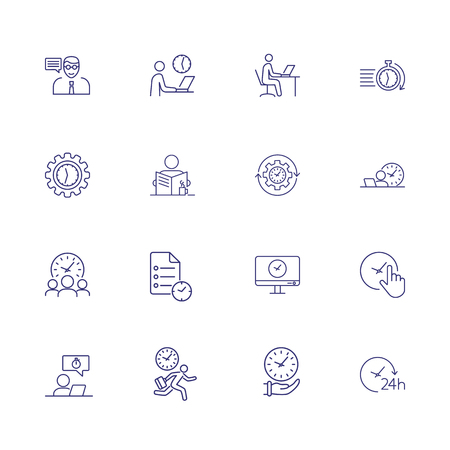 Hurry up line icon set. Set of line icons on white background. Working concept. Clock, running man,       rush hour. Vector illustration can be used for topics like time, job, office