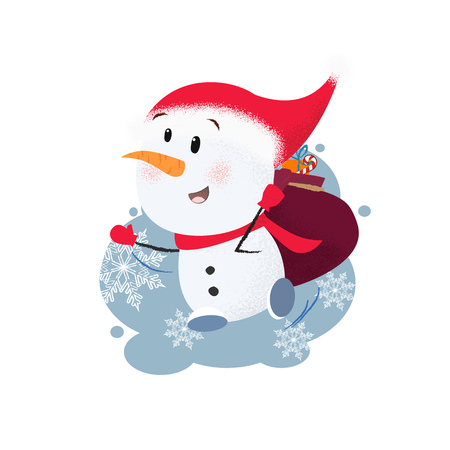 Cheerful snowman carrying sack of gifts. Fun, Christmas present, hurrying, Santa hat. Can be used for topics like Christmas, character, winter