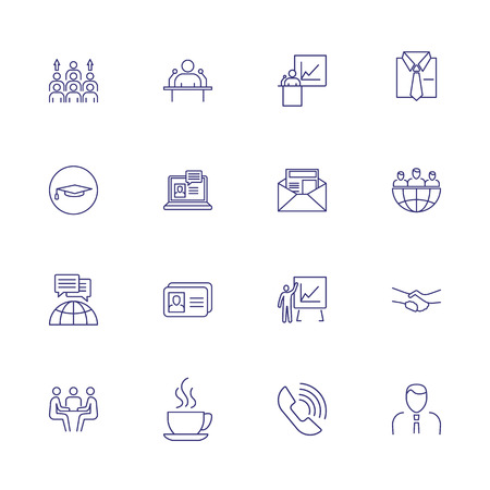 Office line icon set. Set of line icons on white background. Human resource concept. Mail, candidate, connection. Vector illustration can be used for topics like hiring, office, job
