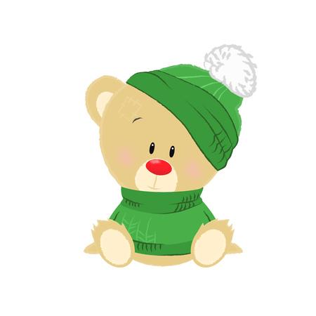 Ours en peluche de dessin animé doux portant un chapeau vert et un pull. Notion d'hiver. L'illustration vectorielle peut être utilisée pour des sujets tels que les vacances d'hiver, les vacances, la tenue