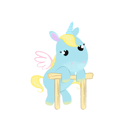 Tired little unicorn leaning on race barrier. Fairytale concept. Vector illustration can be used for topics like myth, fantasy, competition