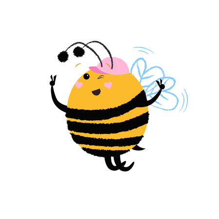 Joyful bee in pink cap dancing and having fun. Joy concept. Vector illustration can be used for topics like party, invitation, leisure Ilustração