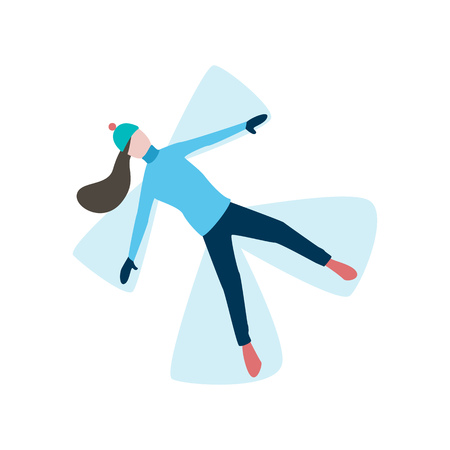 Young woman lying and making snow angle flat icon. Winter vacation, fun, resting. Winter activity concept. Vector can be used for topics like winter, leisure, holiday