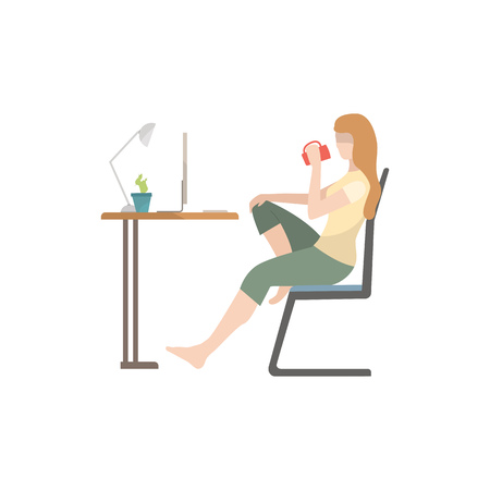 Woman sitting at table, drinking tea and using computer flat icon. Freelance, student, internet. Leisure concept. Vector illustration can be used for topics like domestic life, business, technology