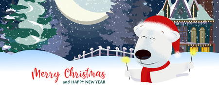 Merry Christmas and Happy New Year postcard design with white beer. Inscription with polar bear on background with snowy landscape. Can be used for postcards, invitations, greeting cards