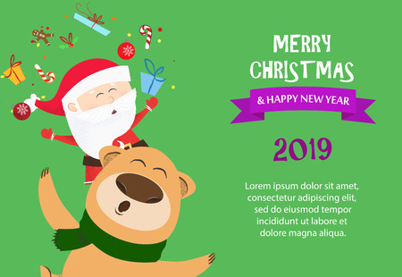 Merry Christmas and Happy New Year sample green banner design. Inscription with bear and Santa on green background with sample text. Can be used for postcards, invitations, greeting cards