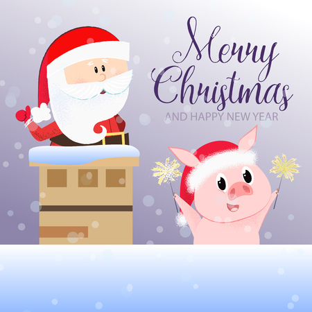Merry Christmas and Happy New Year postcard design with calligraphy. Handwriting with Santa Claus inside chimney and piglet on background with snow. Can be used for postcards, greeting cards, leaflets Stock Photo