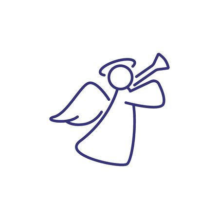 Christmas decoration of angel line icon. Xmas, celebration symbol, Christianity. Holiday concept. Vector illustration can be used for topics like traditional holiday, religion, design Illustration