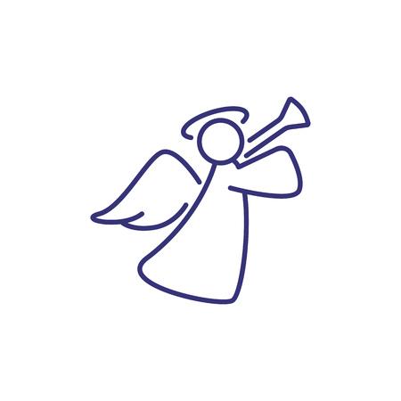 Weihnachtsdekoration von Engel Symbol Leitung. Weihnachten, Feiersymbol, Christentum. Urlaubskonzept. Vektorillustration kann für Themen wie traditioneller Feiertag, Religion, Design verwendet werden Vektorgrafik