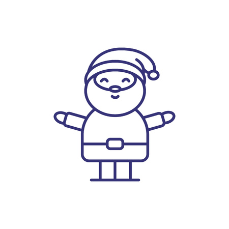 Happy Santa Claus line icon. New Year, cartoon character, Christmas eve. Christmas concept. Vector illustration can be used for topics like holiday, celebration, fairy tale