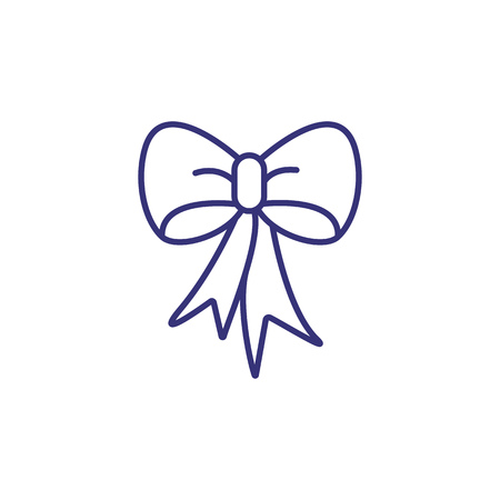 Tied ribbon line icon. Bow, box decoration, bowtie. Christmas concept. Vector illustration can be used for topics like holiday, Christmas present, decor 向量圖像