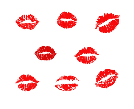 Set of red lips. Imprint, kiss, sensuality. Can be used for topics like pattern, background, seduction