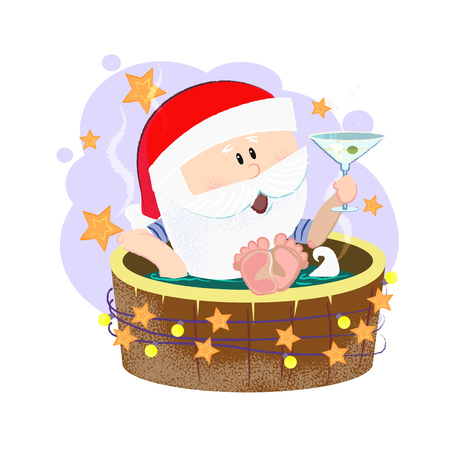 Cartoon Santa drinking cocktail and having outdoor bath at spa resort. Christmas vacation concept. Vector illustration can be used for flyers, festive posters, greeting cards, party invitations Illustration