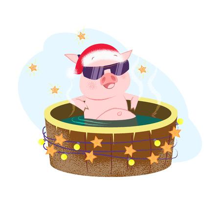 Weihnachtskarikaturschwein mit Sonnenbrille, die Spa-Resort genießt und im Freien badet. Weihnachtsferienkonzept. Vektorillustration kann für Poster, Flyer, Partyeinladungen verwendet werden