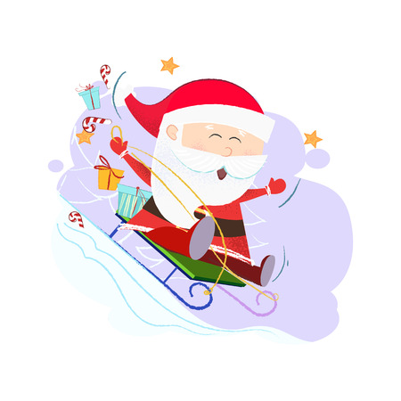 Cheerful Santa sledding with gifts. Christmas gift delivery concept. Vector illustration can be used for banner design, festive posters, greeting cards, flyers