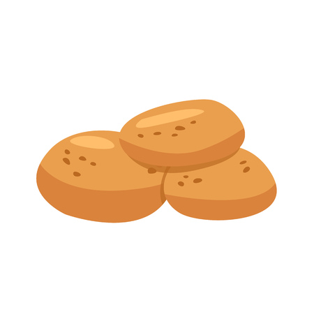 Three bread buns illustration. Bread, bun, pie. Food concept. Vector illustration can be used for topics like food, bakery, pastries, confectionery shop