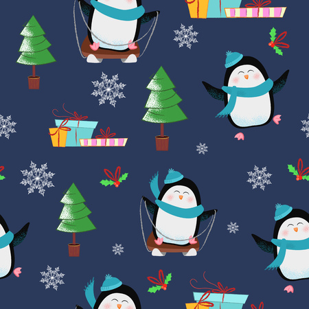 Christmas pattern with penguins, fir-trees and gift boxes. Christmas design element. For leaflets, brochures, invitations, wallpapers, backdrops, posters or banners.