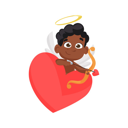 Black cupid leaning on heart. African, archery, arrow, wings. Can be used for topics like Valentines day, love, angel Çizim