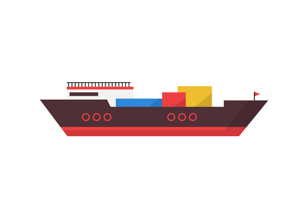 Loaded container cargo ship. Export, freight, shipping. Can be used for topics like logistics, port, distribution