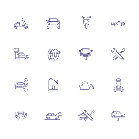 Car service line icon set. Vehicle, scooter, oil, wheel. Maintenance concept. Can be used for topics like service station, blue collar, vehicle inspection