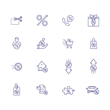Percentage line icon set. House, car, shopping bag, piggy bank. Finance concept. Can be used for topics like bank interest, discount, deposit