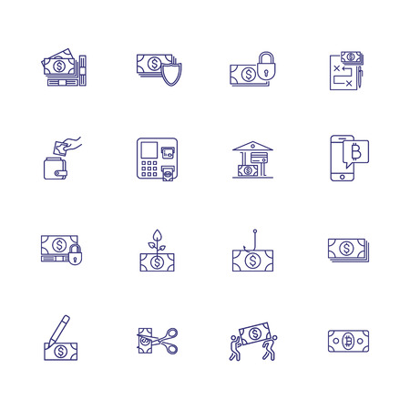 Finance insurance line icon set. Money, shield, lock. Security concept. Can be used for topics like deposit, payment, fraud