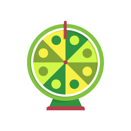 Green and yellow fortune wheel illustration. Game, gambling, luck. Casino concept. Vector illustration can be used for topics like casino, circus, entertainment