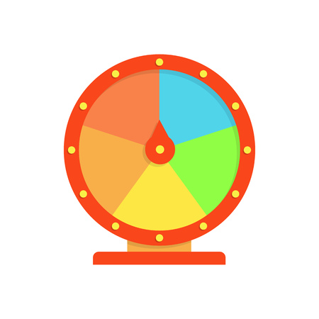 Multicolored fortune wheel illustration. Game, gambling, luck. Casino concept. Vector illustration can be used for topics like casino, circus, entertainment
