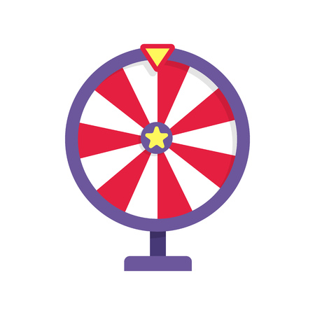 Red and purple fortune wheel illustration. Game, gambling, luck. Casino concept. Vector illustration can be used for topics like casino, circus, entertainment Illustration